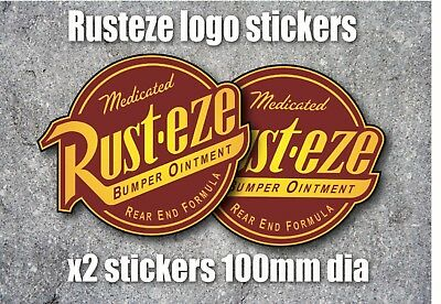 Car Sticker Racing Rat Rod RUST-EZE X 2 DISTRESSED Vintage Style Vinyl DECAL
