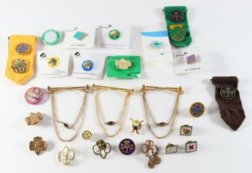 Vintage LOT of Metal Girl Scouts Boy Scouts of America BSA Ribbons Pins Awards