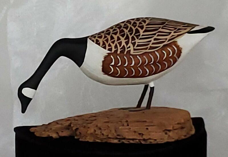 Hand Carved Wooden Goose On Driftwood By E. G. Nickerson, Nova Scotia
