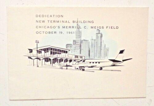 Vintage 1961 MEIGS FIELD CHICAGO Airport Terminal Dedication INVITATION Daley