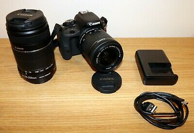 Canon EOS Rebel SL1 100D 18.0 MP Digital SLR DSLR Camera w/18-55mm 55-250mm Lens