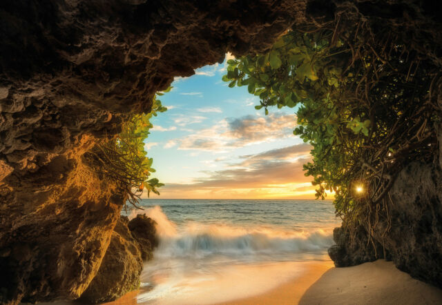 HIDE OUT in CAVES Photo Wallpaper Wall Mural OCEAN SEA VIEW 368x254cm