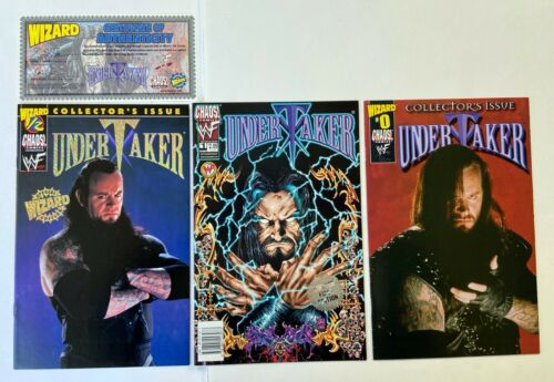 UNDERTAKER Wizard #1/2 Wizard #0 Chaos #1 Comic Lot WWF Wrestling WWE Variant