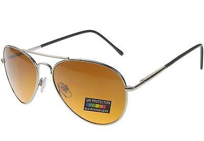 Sunglasses for Men Women Blu Buster Driving Pilot Aviator Spring Hinge Silver