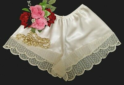 Ivory Satin French Knickers Lace Trim Underwear Sissy Silk Shiny Size 12/14  v01