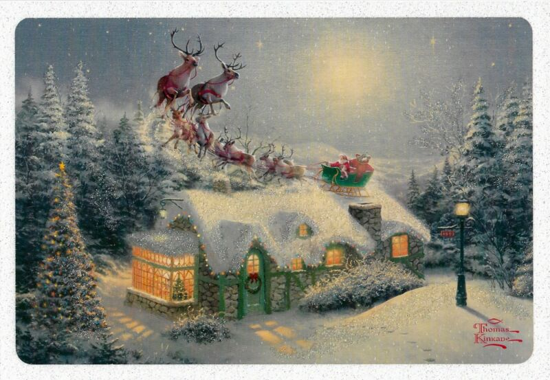 "BEAUTIFUL! THOMAS KINKADE ""DASH AWAY ALL"" DELUXE HALLMARK CHRISTMAS CARD (4)"