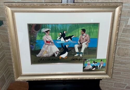 Disney Cel Mary Poppins Tea Time With Mary Signed Julie Andrews Dick Van Dyke