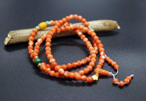 108 Prayer Bead Buddist Prayer Beads 5mm Genuine Momo Coral 3 Strands Bracelet