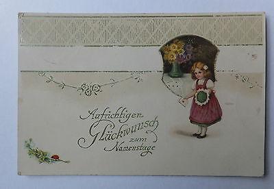 AK Glückwunsch z. Namenstag Kind Mädchen mit Blumen 1905