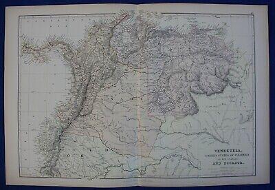 VENEZUELA, COLOMBIA, ECUADOR, SOUTH AMERICA, original antique map, Blackie, 1884