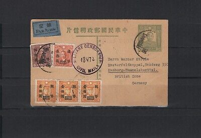 Commercial Air (China, postal stationary, airmail 1947 with censor to Germany, commercial card)