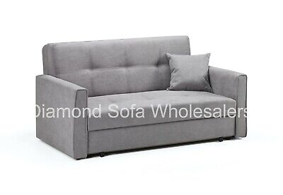 Sofa - Viva 2 Seater Spacious Sofa bed + Large Storage - In Grey Fabric