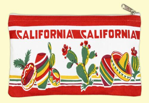 VTG Style California CA Souvenir Travel Pouch Canvas Case Bag Cactus Sombrero