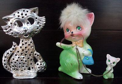 Powder Puff Earrings - Vintage 50s Kreiss Japan Green Powder Puff Pottery Cat Figurine + Earring Holder