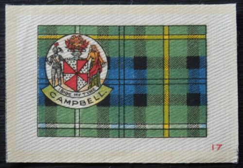 CAMPBELL Clan Tartan and Coat of Arms 99 year old SILK card issued in 1922