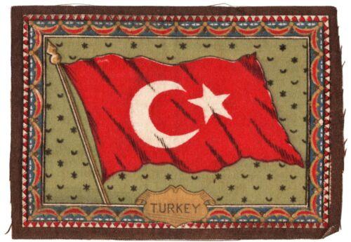 1910-1915 Cigar Box Cigarette Felt Silk Flag-TURKEY-8 x 6 inches-EXCELLENT COND.