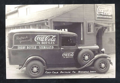 REAL PHOTO NEWCASTLE INDIANA COCA COLA BOTTLING COL TRUCK POSTCARD COPY