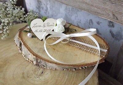 Ringkissen Ringhalter Holzscheibe creme für Eheringe Hochzeit Liebe mit Namen