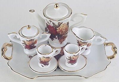- SMALL COLLECTIBLE ROSES PORCELAIN TEA SET TEAPOT SUGAR BOWL CREAMER 2 TEACUPS