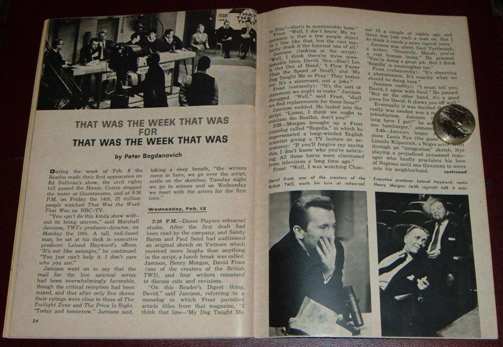 1964 TV ARTICLE by PETER BOGDANOVICH~LELAND HAYWARD~DAVID FROST~SANDY BARON