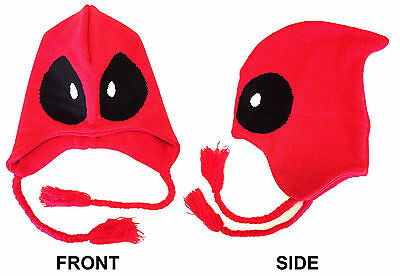 MARVEL COMICS DEADPOOL MASK LAPLANDER W/ TASSELS BEANIE HAT KNIT CAP WINTER RED](Deadpool Hat)