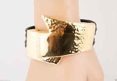 Simon Sebbag Sterling Silver Gold Plated Angled Hammer Black Bracelet MLB3G/BLK