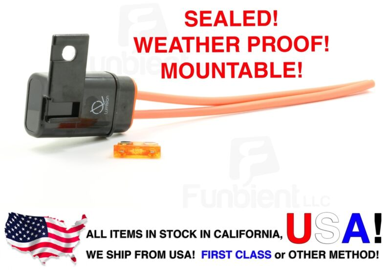Weather Proof Sealed ATO/ATC Fuse Holder 12AWG Gauge + 5A Fuse Car / Boat marine
