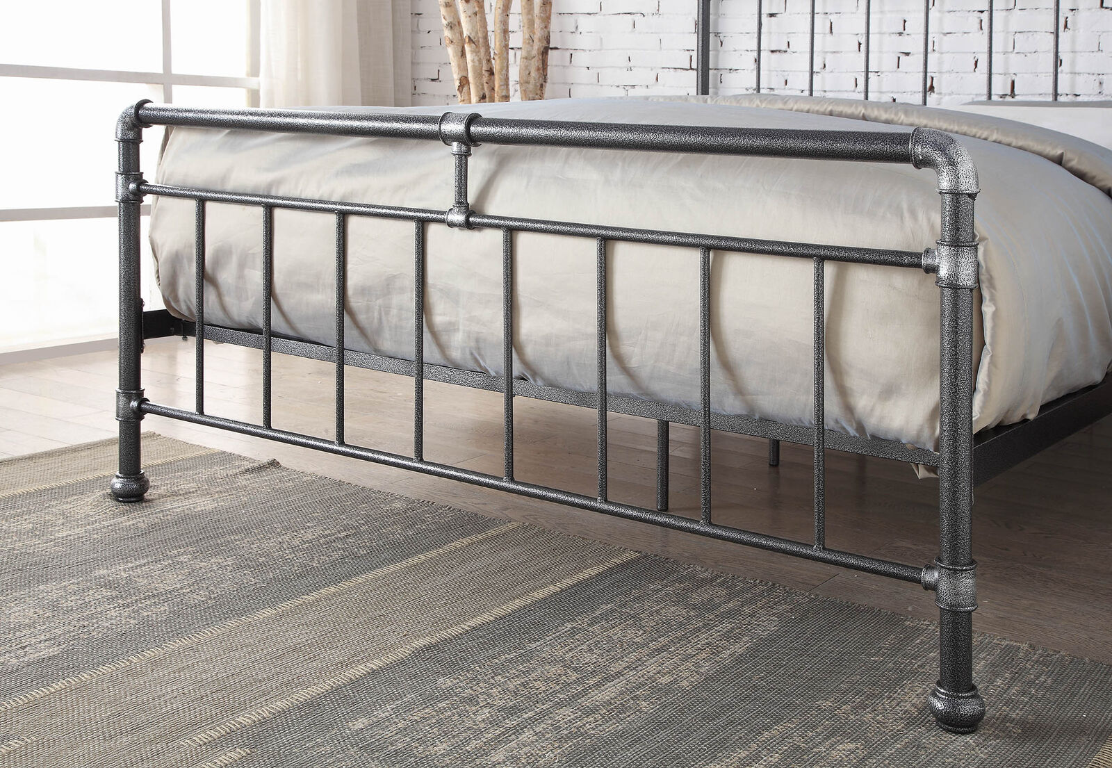 Detroit Metal Industrial Bed Frame Scaffold Pipe Silver Black