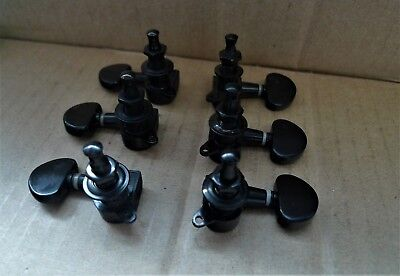 Grover Tuning Keys - 6 IBANEZ TUNING KEYS DIE CAST BLACK GROVER STYLE BUTTON 3 + 3 Side Screw Mount