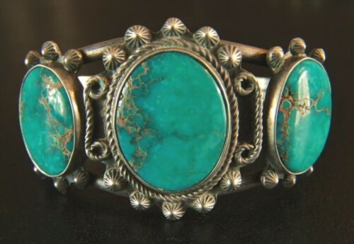 Vintage Navajo Three Stone Turquoise and Silver Bracelet