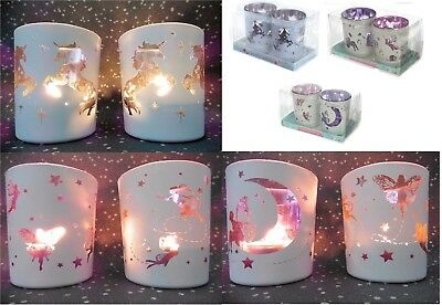 Moonlight Fairy Candle Holder (Set of Glass Fairy Moon Unicorn Tea Light Candle Holder Votive Holders Home Deco)