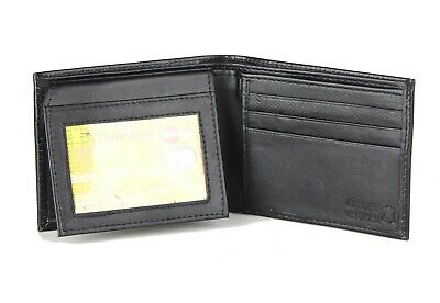 Mens Genuine Leather Wallet Bifold ID Credit Card Holder Window Billfold License