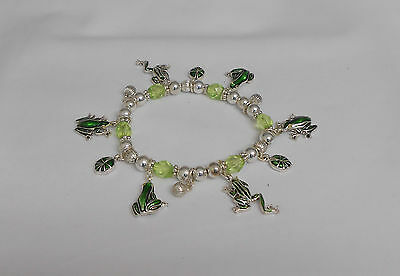 - FROG CHARM BRACELET WITH LIME GREEN BEADS - ENAMEL - STRETCHY