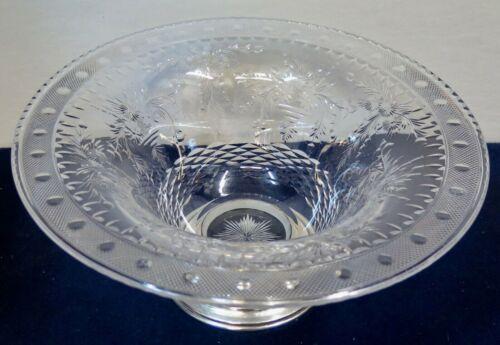 Vintage Antique Signed HAWKES Crystal & Sterling Silver Bowl