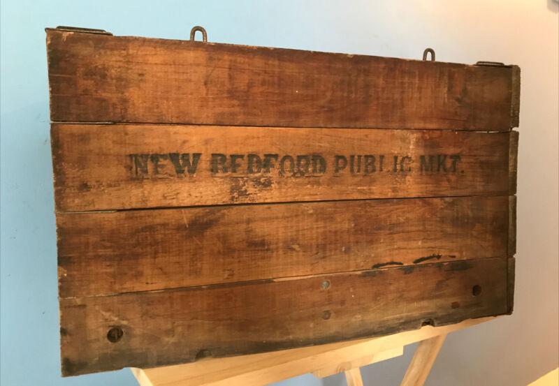 Antique Vintage Hubbard Wire Sewn Folding Box New Bedford Mass Public Market