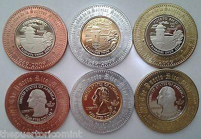 Set 3 Peseta PUERTO RICO COIN SHOW Proof & Gold Quarters Encased Lucky Penny