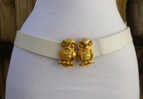 Vtg 1975 Textured Mimi Di N Gold Tone Double Owl Buckle w/faux Leather Belt