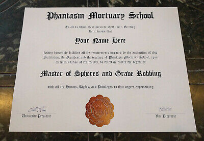 Halloween Movie Memorabilia (PHANTASM MORTUARY SCHOOL Diploma w/Your Name, Horror Movie Gift, Halloween)