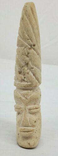 Small Hand Carved Tribal Chief Hawaiian/Polynesian White Soap Stone Art Statue