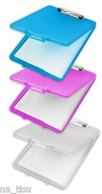 PINK A4 Clipboard Box File Durable Waterproof Office Storage Case documents CL , used for sale  Shipping to Ireland