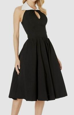 $254 Unique Vintage Women's Black Sleeveless Collared Swing Fit & Flare Dress XS