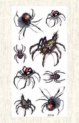 US SELLER, 3D spider Halloween temporary tattoo fake tatoos