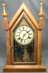 Antique Waterbury Steeple Mantel Clock Circa 1890 Working Maple Veneer Case