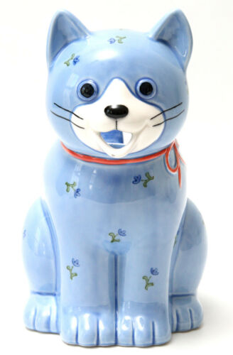 Otagiri Blue Calico Cat with Bow Ceramic Pitcher