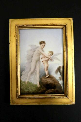 Original Antique KPM Young Woman with Cherub Handpainted Porcelain Plaque