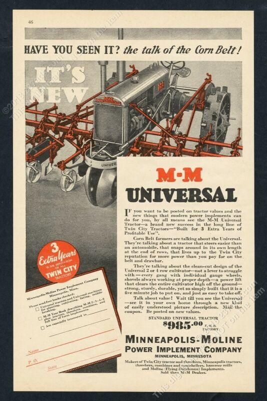 1932 Minneapolis Moline MM Twin City farm tractor illustrated vintage print ad
