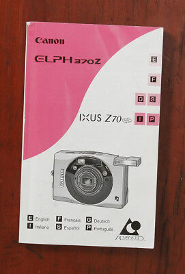 CANON ELPH370Z IXUS Z70 CAMERA INSTRUCTIONS/131683 for sale  Shipping to India