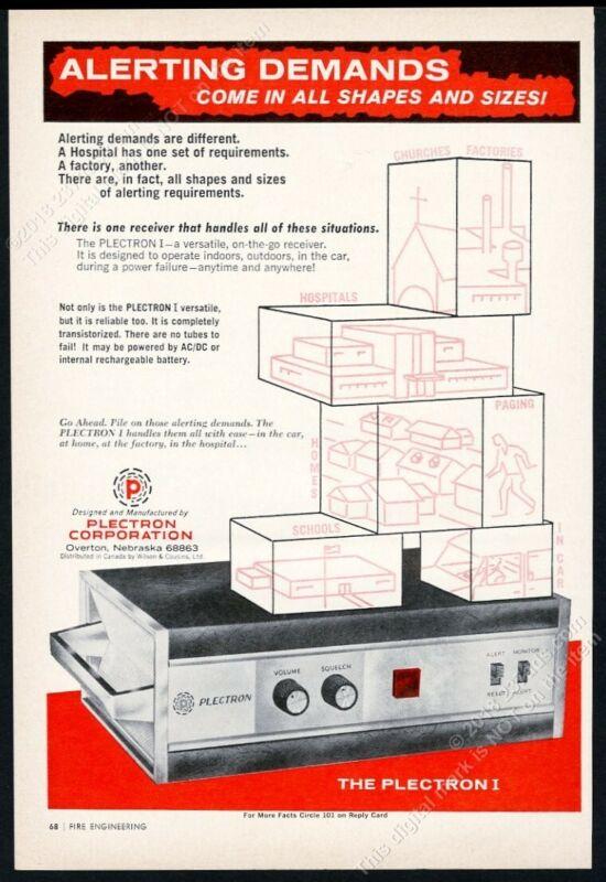 1967 Plectron 1 fire alarm alert radio receiver photo vintage print ad