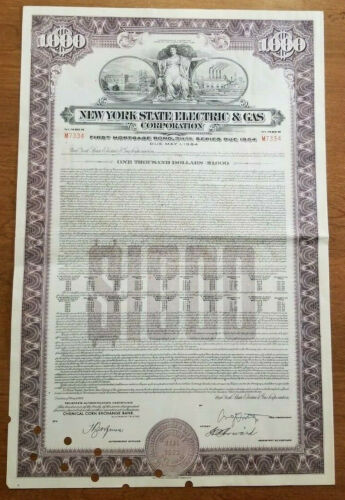 New York  State Electric & Gas Corporation Bond Stock Certificate