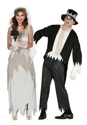 Couples Zombie Bride and Ghost Groom Costume Mens Ladies Halloween Fancy Dress  - Zombie Bride And Groom Costume